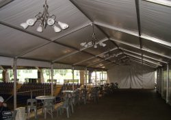 6m x 30m Freestanding marquee with chandeliers