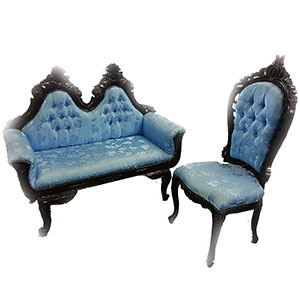 Black and Blue Throne Chaise Combo
