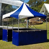 blue and white fete stall