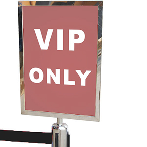 Sydneywide Hire Group carries Sign Holders suitable for Black and Chrome Retractable Bollards which are perfect to be placed anywhere indoors and will suit most décor with their high end design. The Sign Holder is in chrome finish and will suit A4 signs